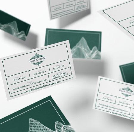 business card design for Peak Dental